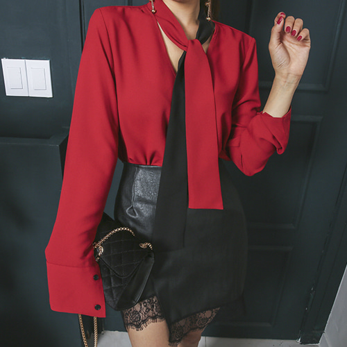 Dabagirl Cutout Back Contrast Tie-Neck Blouse