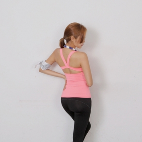 Dabagirl Crossed Cutout Back Exercise Top