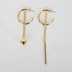 Dabagirl Mismatched Ball and Bar Drop Earrings