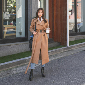 Dabagirl Belted Wide Collar Trench Coat