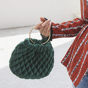 Dabagirl Quilted Hoop Handle Button Closure Handbag