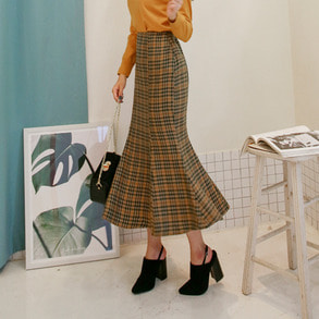 Dabagirl High Waist Flared Hem Houndstooth Skirt