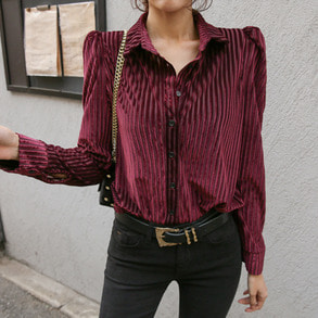 Dabagirl Ribbed Button Up Blouse