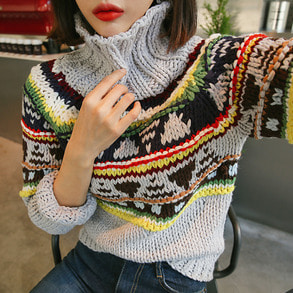Dabagirl Turtleneck Contrast Pattern Knit Top