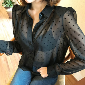 Dabagirl Polka Dot Sheer Blouse