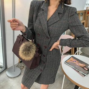 Dabagirl Double Breasted Check Blazer Dress
