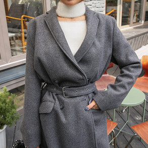 Dabagirl Belted Double Breasted Coat