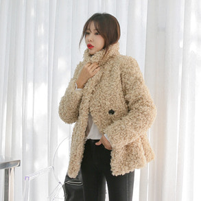 Dabagirl Double Breasted Boucle Loose Fit Jacket