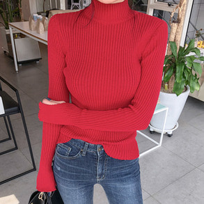 Dabagirl Turtleneck Slit Sleeve Ribbed Knit Top