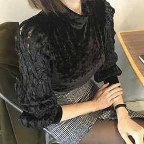 Dabagirl Pleated Lace Sleeve Velvet Blouse