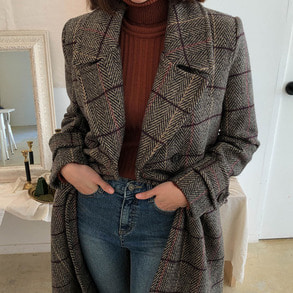 Dabagirl Flap Pocket Check Coat
