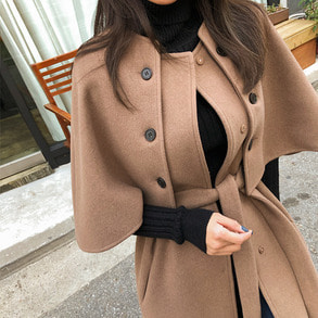 Dabagirl Button Detail Slit Hem Cape Coat