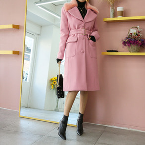 Dabagirl Faux Fur Notched Collar Belted Coat